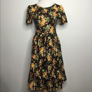 Gold and Green Floral Fit and Flare Dress